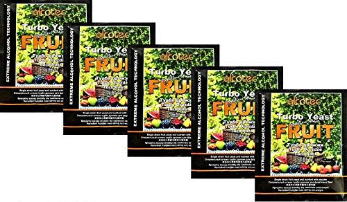 AlcoTec HUGBERT Fruit Turbo Enzym, Alkohol Gärhefe, Hefe, Brennhefe, Destillation, Obst, 5 Stück
