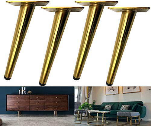 Bikani Golden Sofa Legs Round Solid Metal Furniture Legs Sofa Replacement Legs Perfect for Mid-Century Modern/Great IKEA hack for Sofa, Couch, Bed, Coffee Table (Golden Color, 6 Inches,Set of 4)