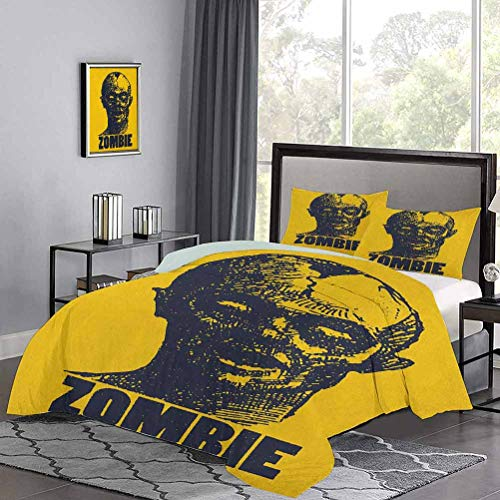 Three-Piece Bed Duvet Cover Hand Drawn Stylized Dead Man Portrait in Grunge Retro Sketch Graphic Image Light-Weight Duvet Cover Set Gorgeous Colour, Good Wuakity Indigo Earth Yellow, Twin Size