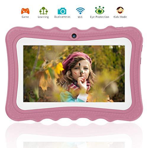 Tablet para Niños 7.0 Pulgadas IPS/HD, 2GB de RAM 32GB de Memoria Interna,Dual Cámara Batería de 4500mAh,Android 7.0 Tablet PC Procesador de Quad-Core,Mediapad WiFi Bluetooth(Rosa)