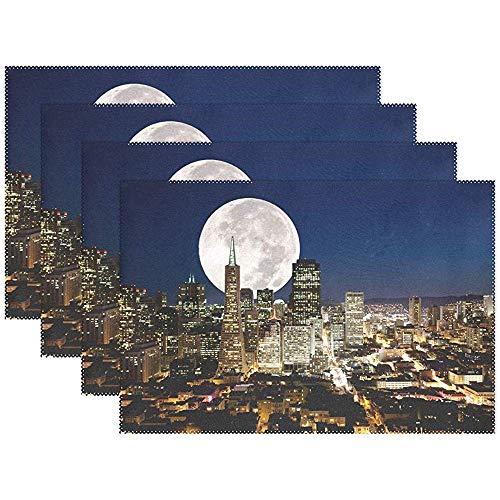 Juego de 6 manteles individuales, luna llena sobre una metrópoli urbana, antideslizante, mesa de poliéster lavable resistente al calor, manteles individuales
