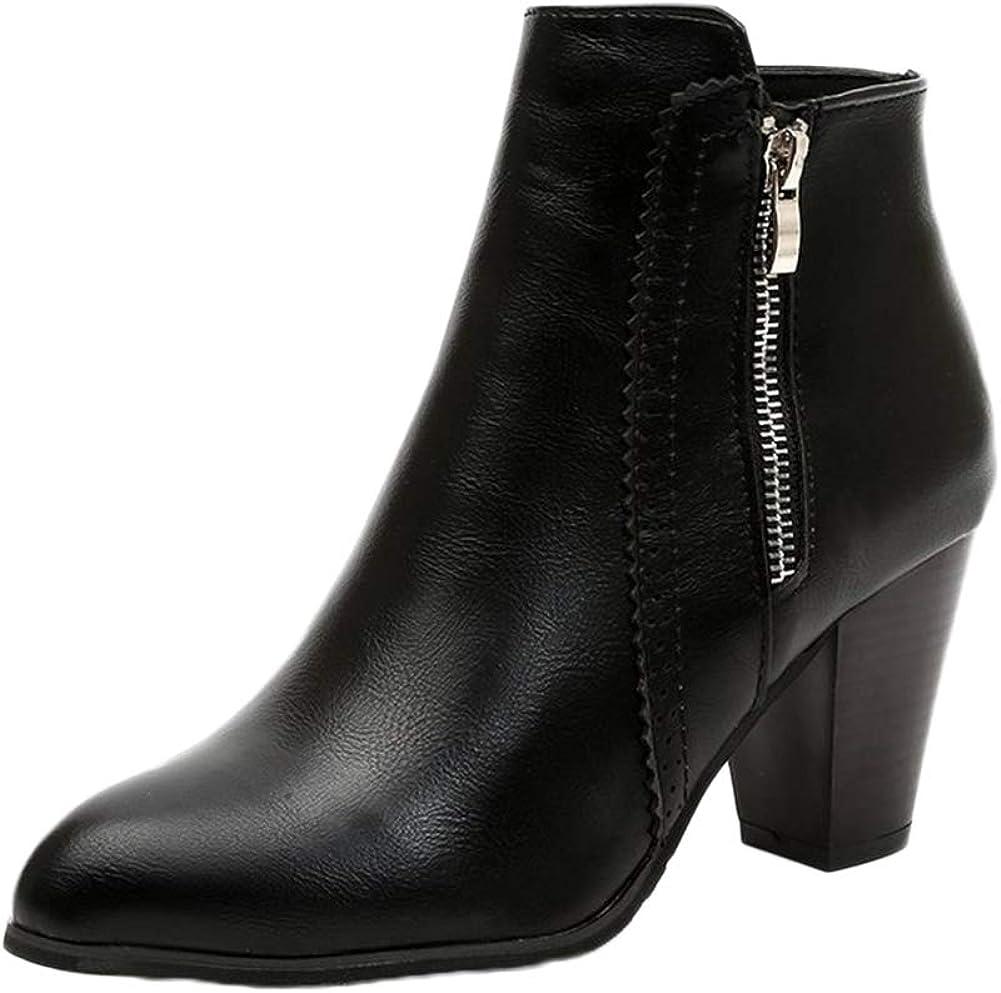 Botines De Mujer Cuero De Imitación Zapatos De Cremallera Lateral Zapato Corto Botas