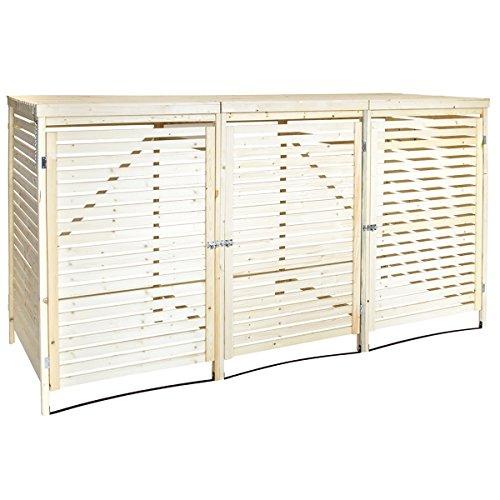 Charles Bentley FSC Triple Wooden Bin Store Wheelie Bin Storage Unit Lifting Lid