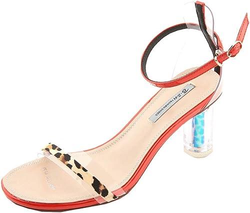 Léopard Sexy Cristal avec des Sandales à Talons épais Simples avec Une Boucle avec des Chaussures à Talons Hauts (Couleur   Orange, Taille   36)