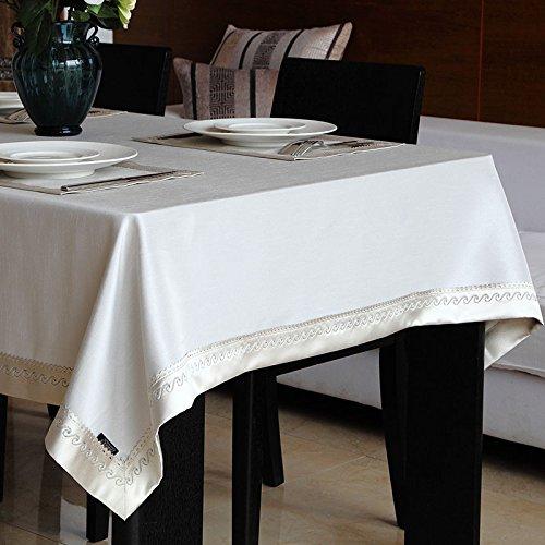 uus Toile en tissu de style chinoise en tissu toison de soie pure table de gaufrage en couleur pure couverture de table de café en couleurs (Couleur : Blanc, taille : 140 * 160cm)
