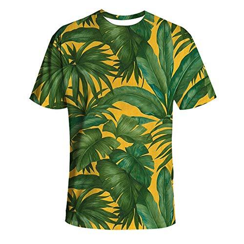 DISCOUNTL Hawaii-Hemd, Herren-T-Shirts, lässiges 3XL-Strand-Top, tropische Pflanzenblätter, 3D-Rundhalsausschnitt, kurzärmeliges Strand-Shirt Gr. L, Abbildung 2
