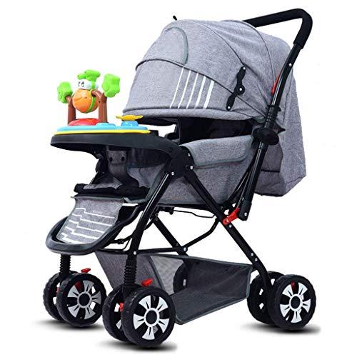 Cochecito ligero de carro de bebé, con respaldo ajustable, reposapiés y toldo, manijas de empuje de dos vías, pueden sentarse y acostarse, rodillos antideslizantes que absorben golpes, usados desde