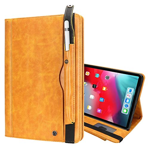 un known Crazy-horse Texture Horizontal Flip Leather Case for iPad Pro 12.9 (2018), with Card Slots & Pen Slot & Holder & Wallet Accessory Same Parts From Original Factory (Color : Yellow)