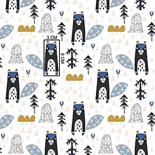 Pingianer Tela de franela de algodón 100 x 160 cm, para niños, por metros, artesanía, costura (franela, 100 x 160 cm), color azul