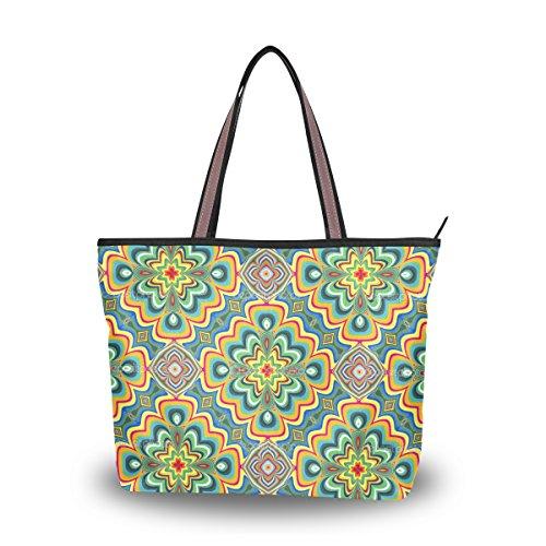 JSTEL - Bolso de hombro grande para mujer, diseño indio moderno, color, talla Medium
