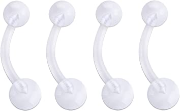 Pierced Owl Set of Four Bioflex Flexible 14GA Belly Button Retainer Rings