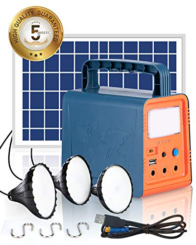 Teioe Portable Power Station with Solar Panel, USB Output, 84Wh Solar Generator Kit with Flashlights for Home Emergency Backup Power, 3 LED Lamps, for Outdoor Camping, Fishing, Travel, Emergency