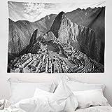 ABAKUHAUS Schwarz & weiß Wandteppich & Tagesdecke, Zeige Peru Dorf, aus Weiches Mikrofaser Stoff Wand Dekoration Für Schlafzimmer, 150 x 110 cm, Schwarz & weiß