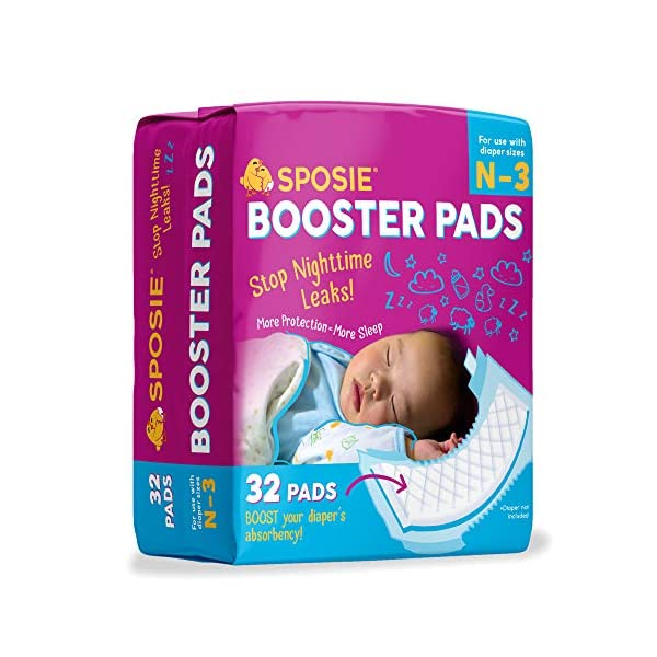 Sposie Overnight Baby Diaper Booster Pads/ Doublers for Newborns to Size 3 Diapers| 32 Insert-Pads| No Adhesive, Easy Repositioning, Disposable, Nighttime Protection for Infant Boys & Girls