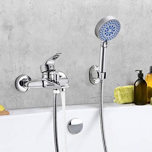 WOOHSE Badewannenarmatur mit Handbrause 5 Strahlarten, Wannenarmatur Set, Einhebelmischbatterie, Wasserhahn Badewanne für Bad Badezimmer, Chrom