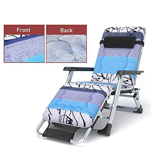 GCZZYMX - Sillas de gravedad cero de gran tamaño para personas pesadas, tumbonas de playa reclinables para patio con cojín grueso, soporte de 400 libras, color negro
