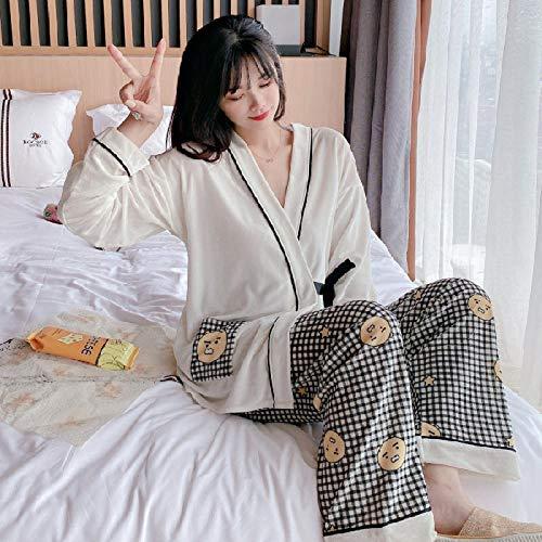 Wenhua Pajamas Mujer, Pijama Casual de Color Puro de otoño e Invierno para Mujer, 11_XXL, 21 Piezas de Ropa de Dormir Algodón Suave Loungewear