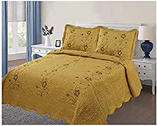 Golden Linens Over Size 3 pieces Solid Color Embroidery Floral Design Quilt Bedspread Coverlet Set With Two Pillow Shams (Queen, Gold)