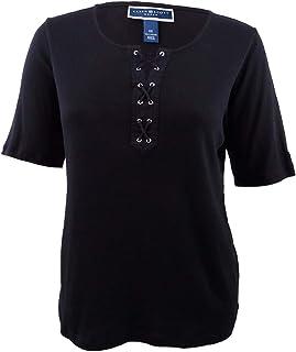 06615e17d Karen Scott Womens Plus Cotton Lace-Up T-Shirt