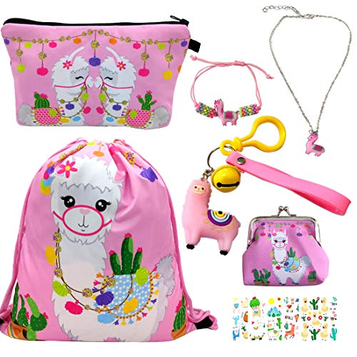 RLGPBON Llama Gifts for Girls Llama Drawstring Backpack,Makeup Bag,Llama Keychain for Girls (Type17)