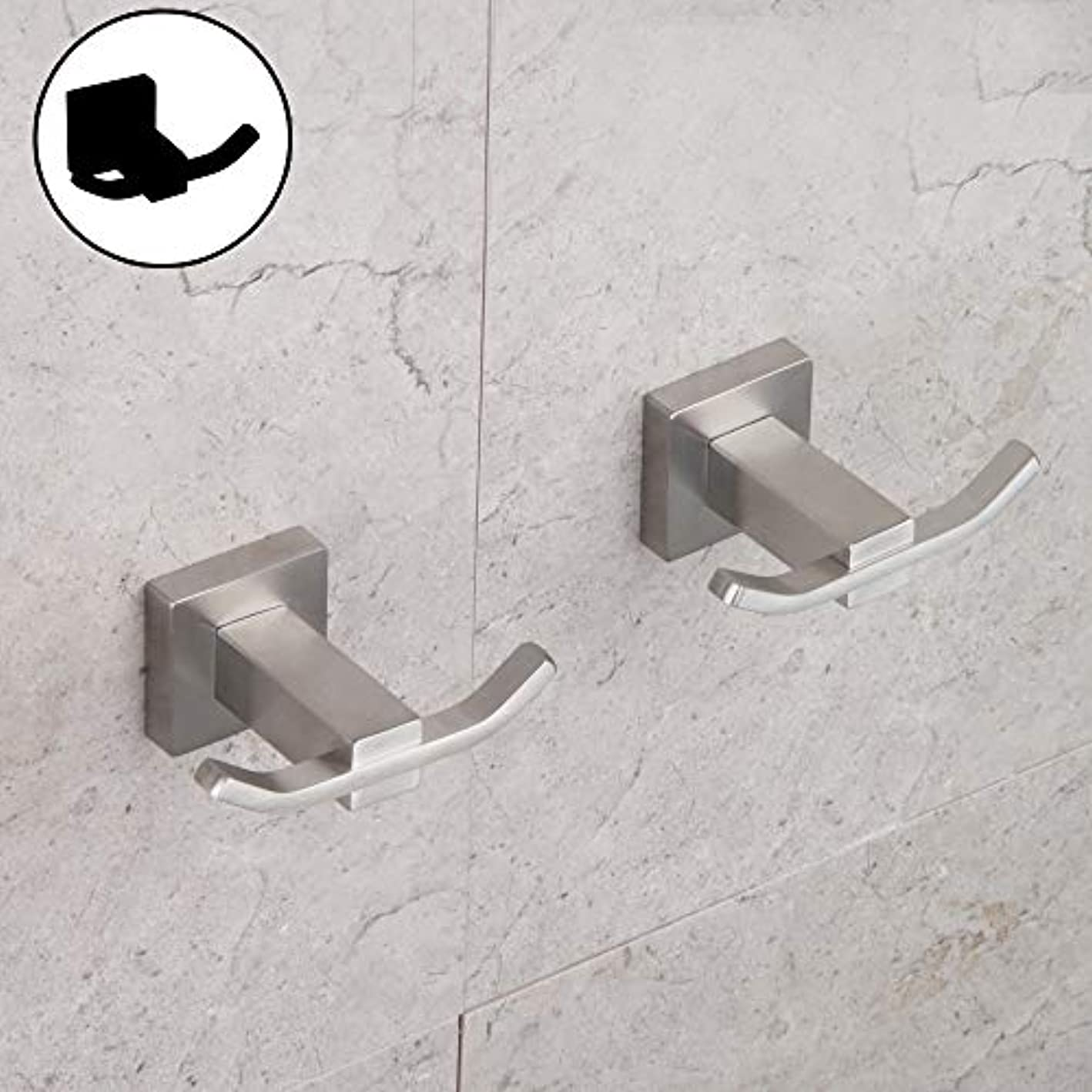 SUS 304 Stainless Steel Bathroom Double Robe Hook Lavatory Bath Towel Hook Coat Hook Wall Mounted 2 Pack Brushed Finish