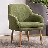 Sillón Nórdico Escandinavo butaca Comedor salón Dormitorio, sillón Acolchado con Reposabrazos y Patas de Madera,Dark Green