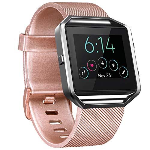 Correa de repuesto Vancle compatible con Fitbit Blaze, no incluye Fitbit Blaze y marco (oro rosa, L)