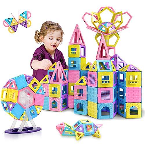 HOMOFY 88pcs Castle Magnetic Blocks - Learning & Development Magnetic Tiles Building Blocks Kids Toys for 3 4 5 6 7 Years Old Boys Girls Gifts