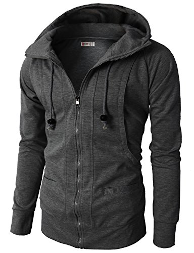 H2H Mens Fashion Hooded Casual Slim Fit Jersey Zip up Charcoal US M/Asia L (KMOHOL019)