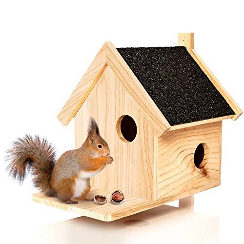 Skojig© Eichhörnchen Kobel aus Naturholz - Nistkasten ca. 39x33x34,5cm | Nest für wildlebende Eichhörnchen : Futterspeicher Futterstelle Futterstation Haus