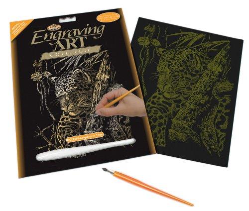 Royal & Langnickel GOLF21 - Engraving Art/Kratzbilder, DIN A4, Leopard im Baum, gold