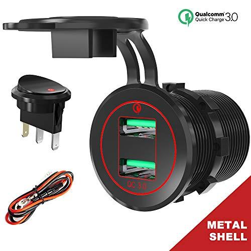 Quick Charge 3.0 USB auto-stopcontact, auto-oplader, inbouwstopcontact met LED-schakelaar 12 V/24 V, waterdicht, sigarettenaansteker, adapter, auto, USB-stopcontact, 36W, QC 3.0, snellading voor boot, motorfiets, vrachtwagen, caravans