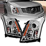 AmeriLite Chrome Projector Replacement Headlights Plank LED Bar Set for 2010-2016 Cadillac SRX - Passenger and Driver Side