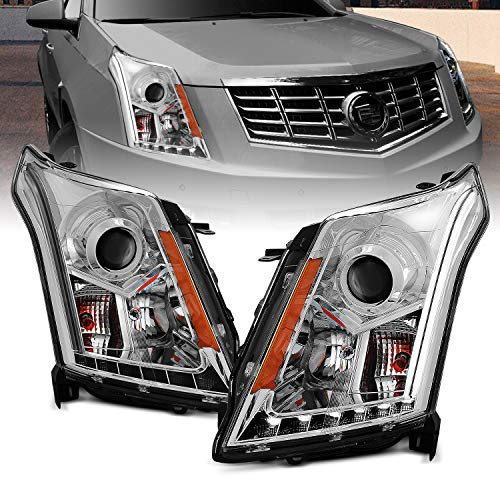 AmeriLite Chrome Projector Headlights Plank LED Bar Set for Cadillac SRX - Passenger and Driver Side