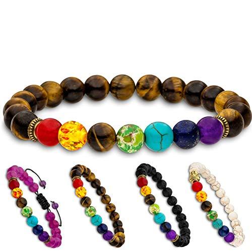 Aura Design 7 Chakra Perlenarmband für Damen und Herren - edle Naturperlen - Yoga Armband - Meditation - Buddha Armband - Stein Armband - Gelbes Tigerauge - [19,5 cm Umfang] & [8 mm Perlen] …