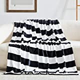 Touchat Fleece Throw Blanket, Black and White Stripe Flannel Throw Blanket for Couch Sofa Bed, 50'' x 70'' Super Soft Warm Fuzzy Plush Blankets Decor, Lightweight Cozy Travel Camping Blanket