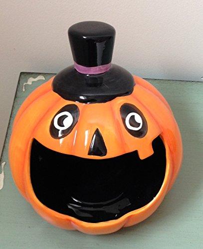 Magenta Halooween Jack O Lantern Pumpkin Head Orange Black Candy Dish Bowl Halloween Home Decor
