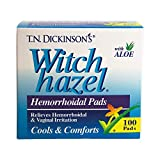 T.N. Dickinsons Witch Hazel Hemorrhoidal Pads with Aloe - 100 Ea