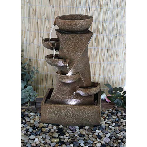 GEEZY Garden Water Feature LED Fountain Indoor/Outdoor Cascading Freestanding Polyresin Garden Statue Lights & Water Decoration (Cascading Fountain)