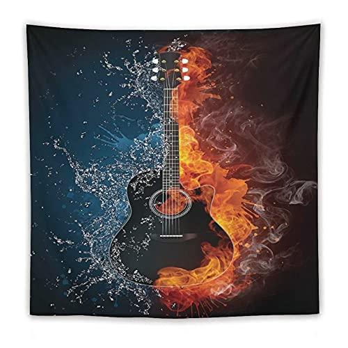 Tapiz cuadrado para colgar en la pared, para el hogar, guitarra, negro, blanco, medio fuego, medio hielo, dorado y azul, 152,4 x 152,4 cm