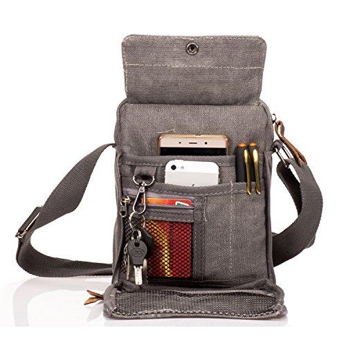 Outreo Borsa Tracolla Uomo Vintage Borse da Spalla di Tela Sacchetto Piccolo Canvas Messenger Bag Studenti Scuola Borsello per Università Tablet Tasche Viaggio Sport Tasca