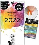 Calendario per famiglie 2022 | 23x43cm | 5 Colonne | 228 adesivi | VINTAGE | Planner da parete, Planner da muro | Giorni festivi | Foto in bianco e nero, elementi di acquerello, Decorazione, Retro