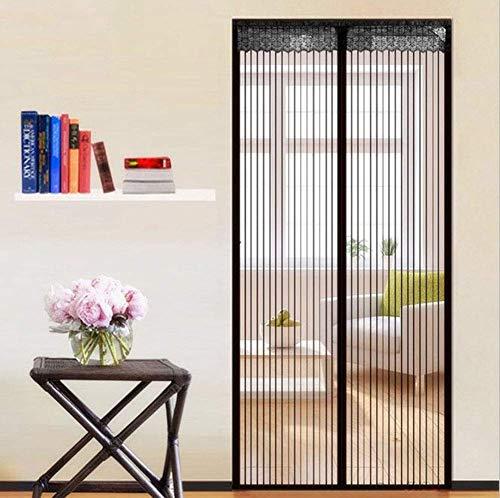 Magnetische vliegengaas, magnetisch deurkozijn, insectenwerende deur met sterk netgordijn, geschikt voor deurgroottes tot – zwart 70 x 205 cm (28 inch)