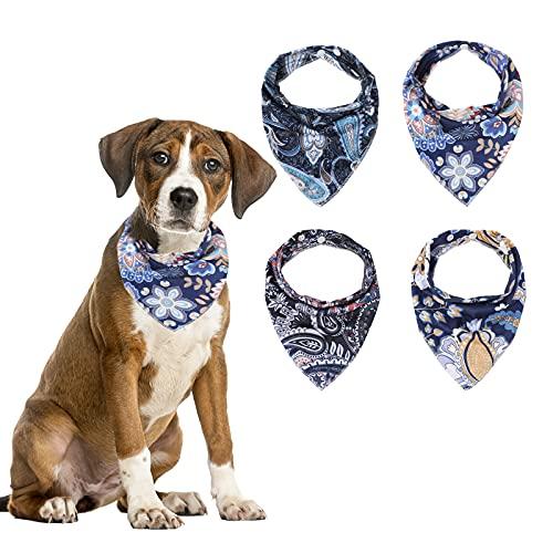 Verstellbare Hunde Dreiecks Halstuch - 4 Stück Waschbar Halstücher Bandana Weiche Baumwolle Kopftuch für Hund als Haustier Zubehör für kleine Mittel Hunde/Katzen (Paisley)