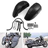 Repuestos Powersports Bolso de la motocicleta universal de crucero motocicleta clásica lado duro Negro Cerraduras Alforjas Moto Bolsas