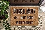 Doorbell Broken Yell Ding Dong   Funny Doormat   Welcome Mat   Funny Door Mat   Funny Gift   Home Doormat   Custom Doormat   Door Rug