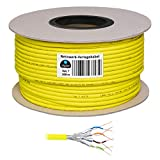 HB-DIGITAL Netzwerkkabel LAN Verlegekabel Cable 100m cat 7 Kupfer Profi S/FTP PIMF LSZH Halogenfrei gelb RoHS-Compliant cat. 7 Cat7 AWG 23/1