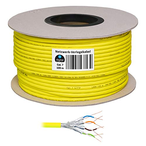 HB Digital Basic - Cavo di rete LAN di categoria 7 professionale S/FTP PIMF LSZH, senza alogeni, RoHS-Compliant, cat. 7 Cat7 AWG 23/1 100m giallo.
