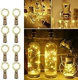 luz de Botella, Guirnaldas Luces LED con Corcho 2m 20 LED a Pilas, para Romántico Boda, Navidad, Fiesta, Hogar, Exterior, Jardín,Blanco Cálido(8 Pack) [Clase de eficiencia energética A+++]arm White