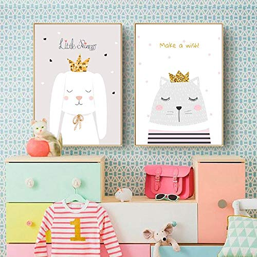 Bebé Nursery Wall Art Canvas Poster Print conejo corona Pintura Nordic Kids Decoración Imagen rosa Niños Dormitorio Decoración...